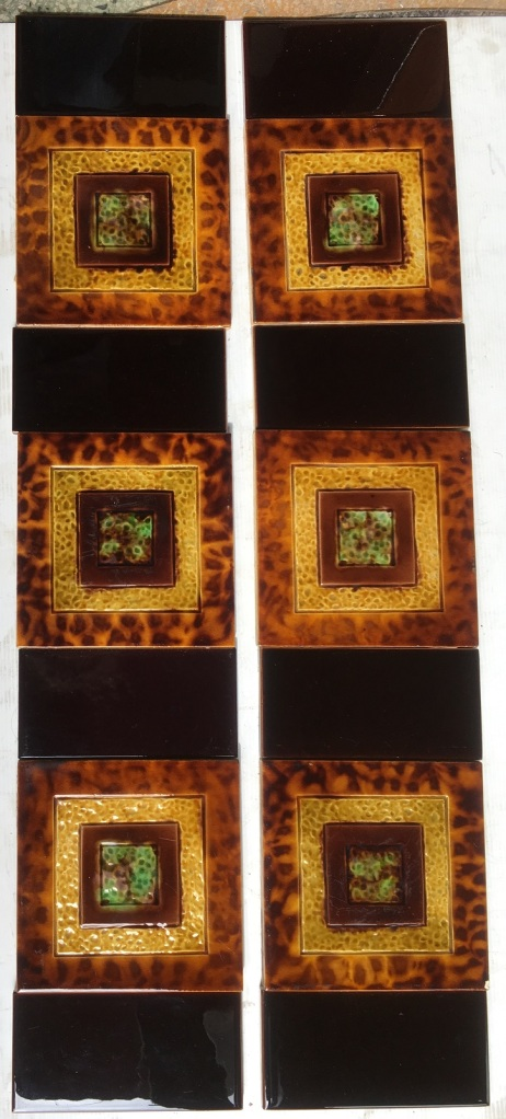 Original Late Victorian fireplace tiles, textured surface in warm tones, tortoise shell pattern glaze $250 for the set OTB