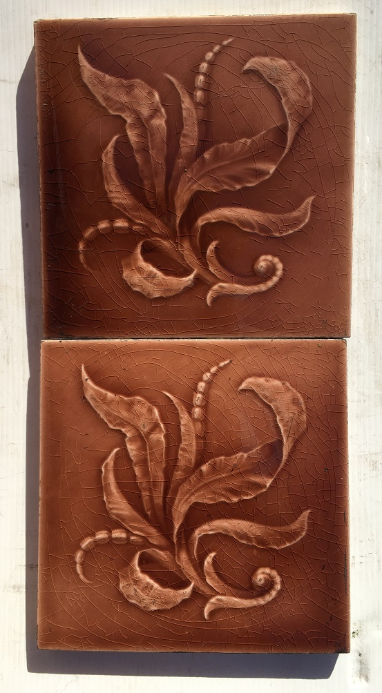 Original Sherwin And Cotton fireplace / washstand tiles in warm pink/brown glaze, $85 for the pair WS