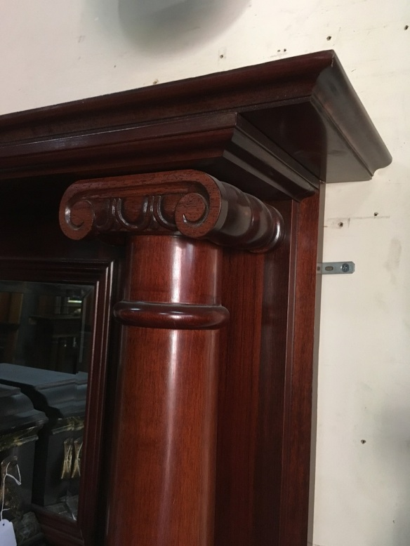 salvaged, recycled, demolition, reproduction, restoration, renovation,collectable, secondhand, used , original, old, reclaimed, heritage, antique, victorian, art nouveau edwardian, georgian, art deco detail of Large pillared timber mantel, bevelled mirror, Corinthian scrolls, top shelf width 1600 x height 1800mm, $1250