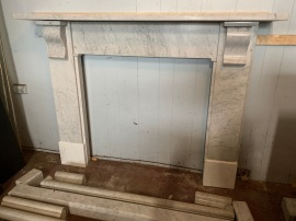 Original Carrara marble fire surround/mantel with simple scroll, top shelf is , 1540 mm long , overall height is 1155 mm , opening is 910 mm x 910 mm , $2500