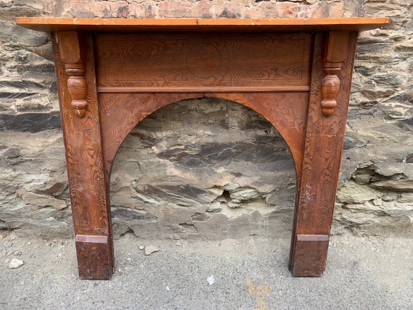 salvaged, recycled, demolition, reproduction, restoration, renovation,collectable, secondhand, used , original, old, reclaimed, heritage, antique, victorian, art nouveau edwardian, georgian, art deco Original arched mantle with a grained finish , top shelf is1385 mm , height is 1205 mm , opening is 920 mm wide x 900 mm tall , $ 250