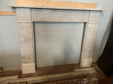 Lovely Georgian carrara marble mantle piece, Top shelf is 1500 mm , height is 1135 mm , opening is 900 mm wide x 910 mm tall, $ 2200 , We have 2 the same in stock currently