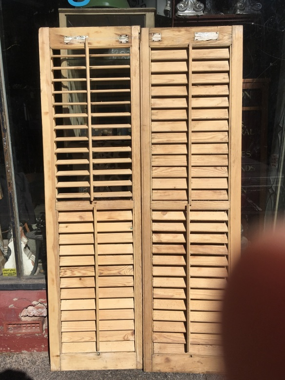 2 matching pairs of stripped adjustable louvres 1075 x 1880 $440 pair