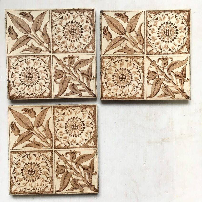 Original Victorian / Aesthetic fireplace tiles x 3 available, chocolate brown transfer print $38 each WS