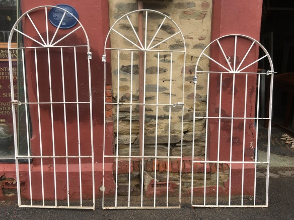 Iron pedestrian access / side of house gates, two available at w782 x h1950mm $220 each , one available at w782 x h1740mm $180