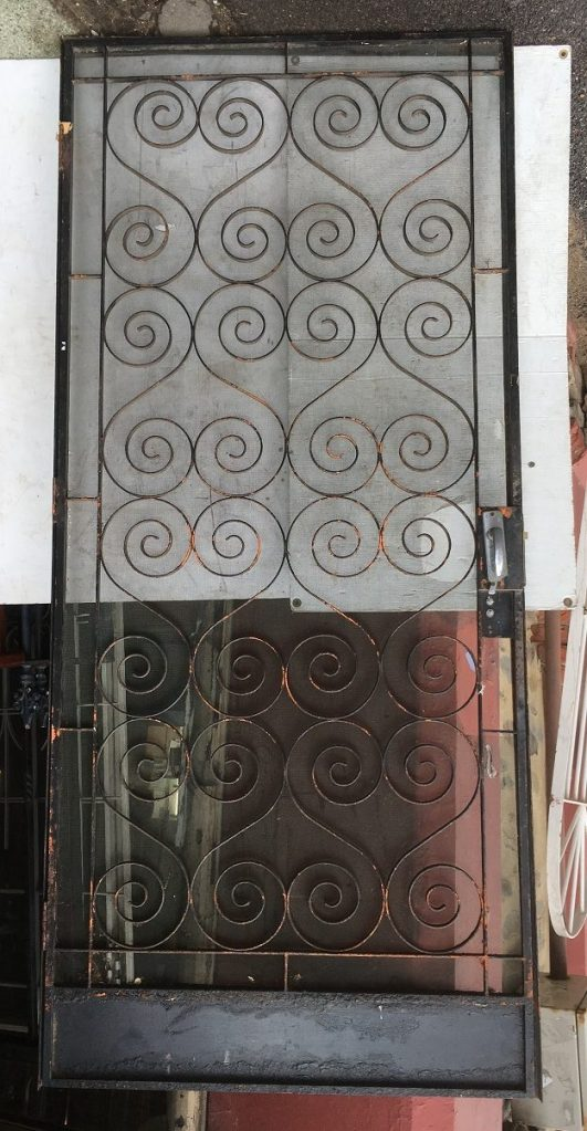 salvaged, recycled, demolition, reproduction, restoration, renovation,collectable, secondhand, used , original, old, reclaimed, heritage, antique, victorian, art nouveau edwardian, georgian, art deco Vintage wrought iron and steel screen door with frame, scroll / heart pattern, height 2110 x width 940mm, $150