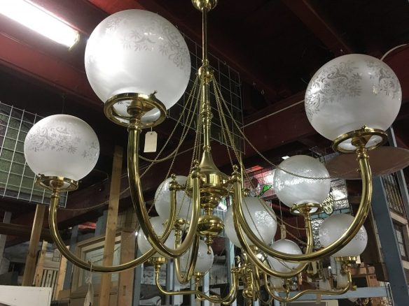 Five branch brass pendant light with fine chains on each arm, frosted and etched ball shades, diam approx 1 metre $585, salvaged, recycled, demolition, reproduction, restoration, home renovation secondhand, used , original, old, reclaimed, heritage, antique, victorian, art nouveau edwardian, georgian, art deco