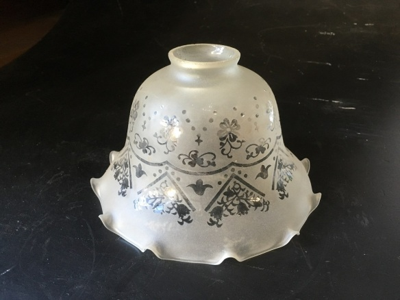 Glass light shade, frosted / etch pattern, fluted edge, 190mm diameter, 50mm gallery opening salvaged, recycled, demolition, reproduction, restoration, home renovation secondhand, used , original, old, reclaimed, heritage, antique, victorian, art nouveau edwardian, georgian, art deco