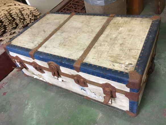 Rustic travel trunk, timber with rusted metal fittings (for holding firewood?) w930 x h320 x d530mm, $30