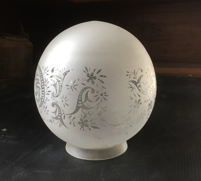 Frosted glass ball light shade, clear glass pattern, 78mm diam gallery opening, 140mm diam shade salvaged, recycled, demolition, reproduction, restoration, home renovation secondhand, used , original, old, reclaimed, heritage, antique, victorian, art nouveau edwardian, georgian, art deco