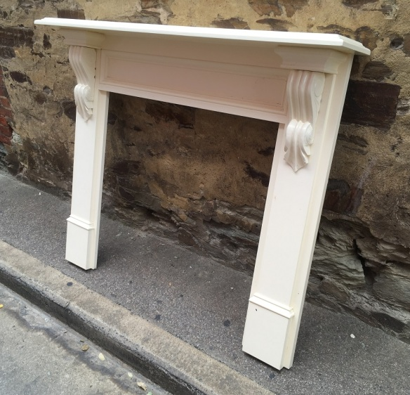 Victorian style fireplace mantel / surround, painted white, top shelf width 1442mm, $450