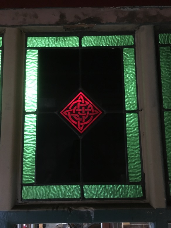 Leadlight Panels , 395 mm x 282 mm , with Celtic motif to centre , and very unusual dark / black glass, 3 available , $ 145 each