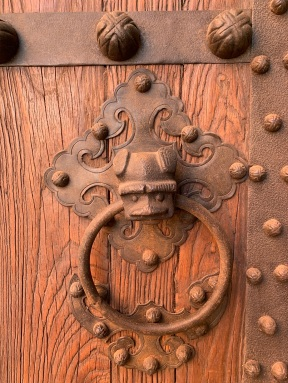 Detail of ironwork on chinese doors