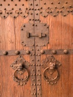 Detail of ironwork on chinese doors