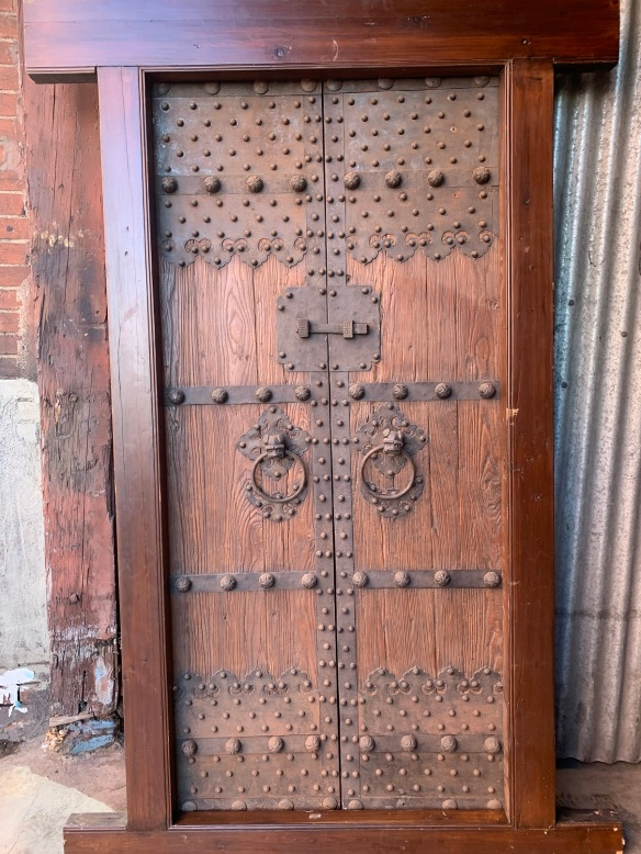 Ornate Chinese French / double doors with decorative ironwork and studs, recently made frame, Frame is 1165mm x 2280mm , door opening is 920mm x 2000mm , $2200