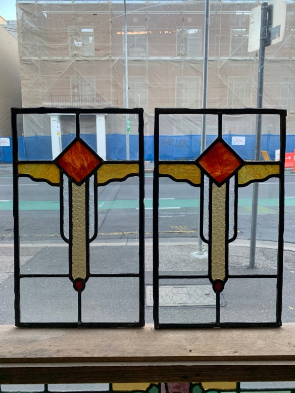 salvaged,Lead light panels , art deco motif , 460 mm x 275 mm , $ 145 each recycled, demolition, reproduction, restoration, home renovation secondhand, used , original, old, reclaimed, heritage, antique, victorian, art nouveau edwardian, georgian, art deco