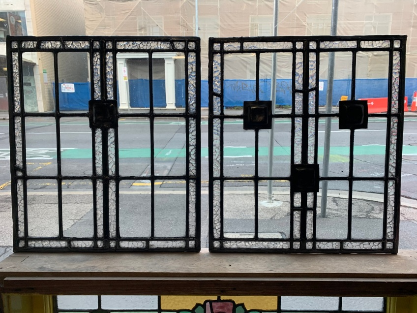 salvaged, recycled, demolition, reproduction, restoration, home renovation secondhand, used , original, old, reclaimed, heritage, antique, victorian, art nouveau edwardian, georgian, art decoArts and crafts style leadlight panels , 418 mm wide x 472 mm tall , $ 145 each ,