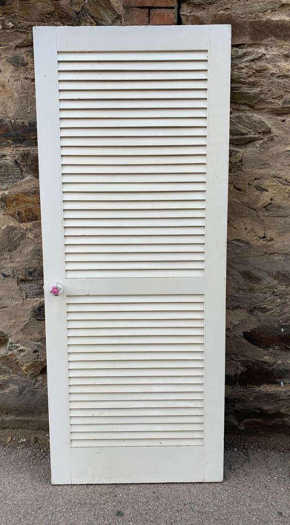 Timber door, solid panel but looks like louvres , 805 mm x 2020 mm , $150salvaged, vintage recycled, demolition, reproduction, restoration, home renovation secondhand, used , original, old, reclaimed, heritage, antique, victorian, art nouveau edwardian, georgian, art deco