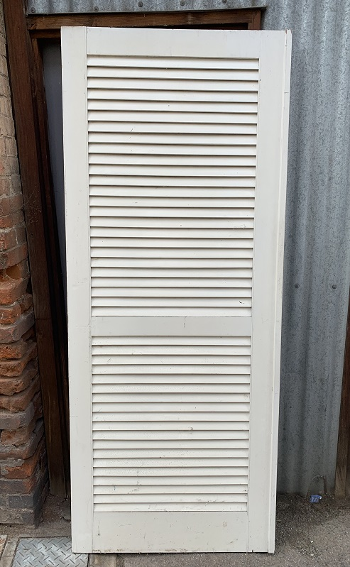 Timber door, solid panel but looks like louvres, 810 mm x 2035 mm , $150 salvaged, vintage recycled, demolition, reproduction, restoration, home renovation secondhand, used , original, old, reclaimed, heritage, antique, victorian, art nouveau edwardian, georgian, art deco