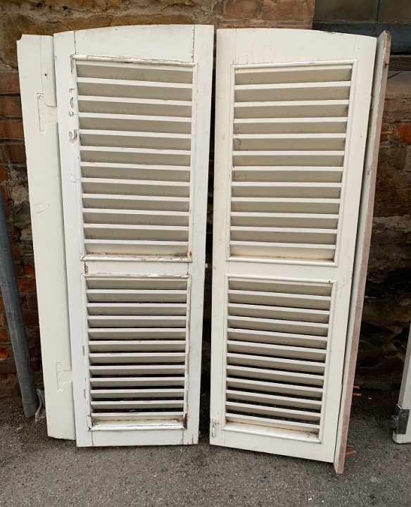 pair of louvred shutters with arched top , 'B' 960 mm wide x 1500 mm tall , $330