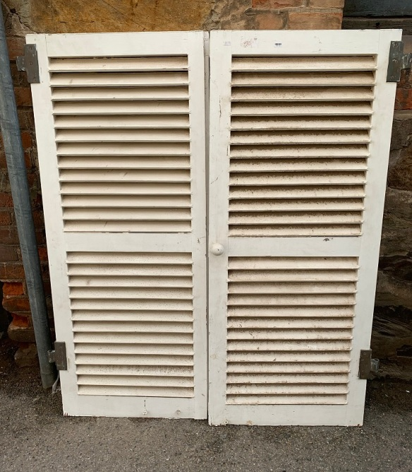 Pair of timber window shutters, approx width 1200mm x h 1390mm $280 the pair