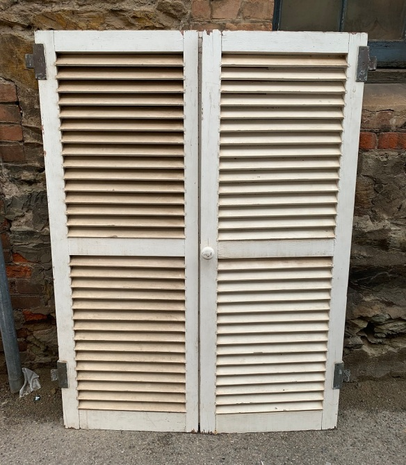 Pair of louvred shutters , 'A' , 1165 mm wide x 1570 mm tall , $330