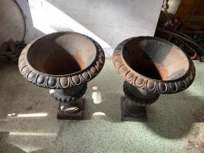 Pair of cast iron urns , 480 mm diameter x 630 mm tall , $ 350 each ,