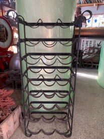 Iron wine rack , 24 bottle capacity, 1000 mm tall x 530 mm wide x 250 mm deep , $ 110