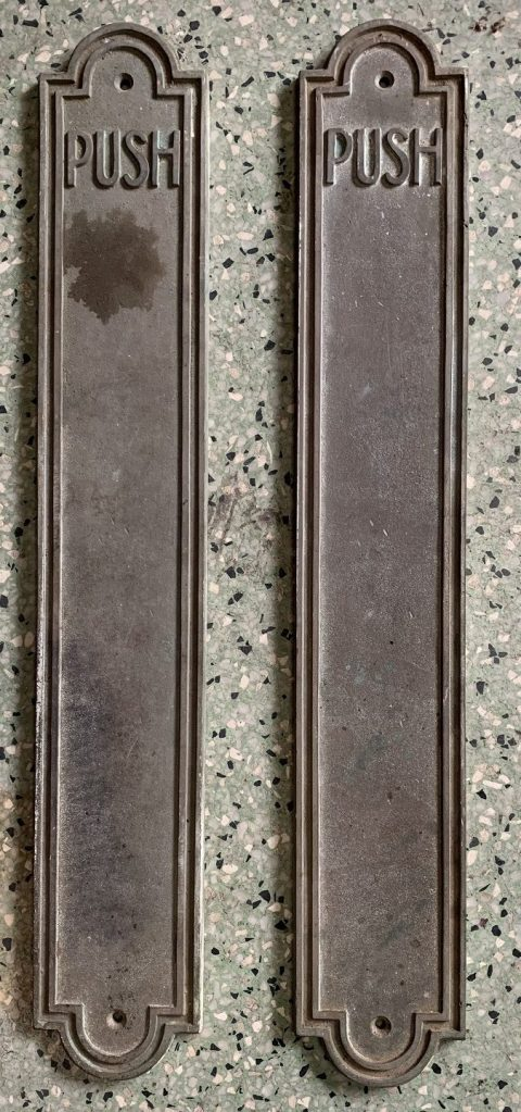 Large Pair of Bronze Push Plates, 505 mm long x 82 mm wide $ 165 the pair salvaged, recycled, demolition, reproduction, restoration, renovation,collectable, secondhand, used , original, old, reclaimed, heritage, antique, victorian, art nouveau edwardian, georgian, art deco