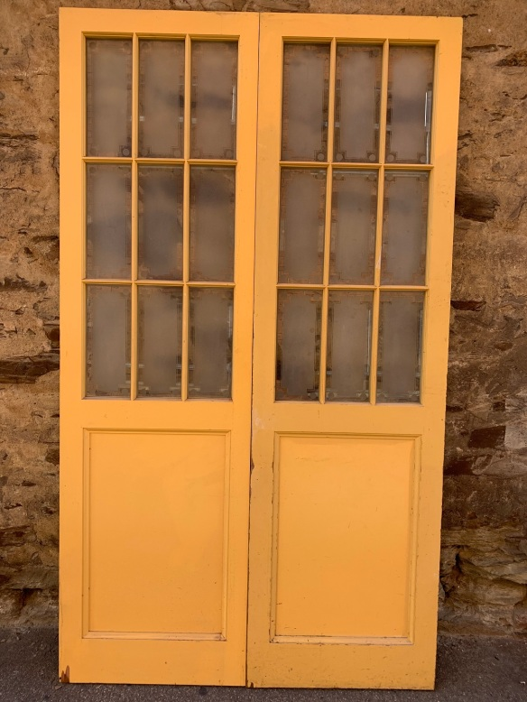 French Doors ,, Western Red Cedar with etched glass panels , 2430 mm tall x 1400 mm wide , $ 545 per set , salvaged, recycled, demolition, reproduction, restoration, renovation,collectable, secondhand, used , original, old, reclaimed, heritage, antique, victorian, art nouveau edwardian, georgian, art deco