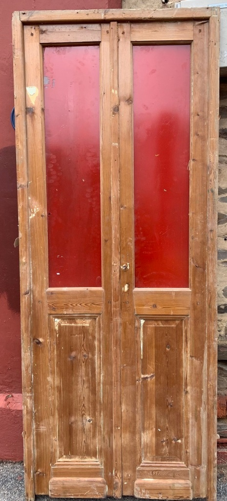 Pair of Pine French Doors in Frame, two upper glass panels, painted red, Frame size is 2290 mm x 915 mm, $635 the set Pair of Pine French Doors in Frame , , Frame size is 2290 mm x 915 mm, $635 the set salvaged, recycled, demolition, reproduction, restoration, renovation,collectable, secondhand, used , original, old, reclaimed, heritage, antique, victorian, art nouveau edwardian, georgian, art deco