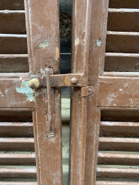 Detail of closing mechanism on timber shutters
