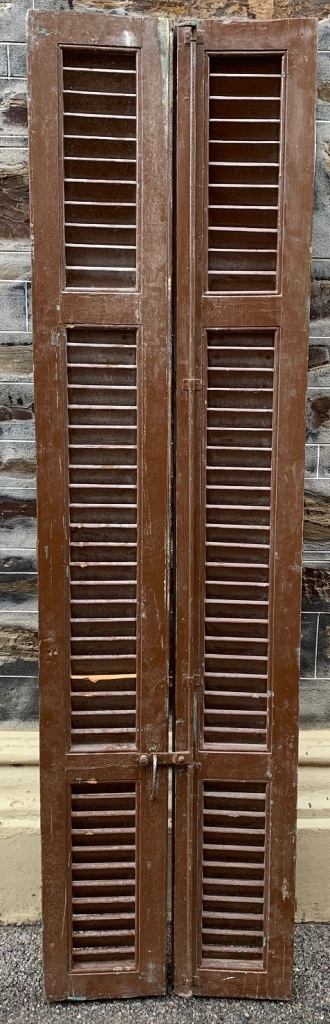 Timber Shutters , 510 mm x 1910 mm , $245 a set , 3 Sets available, SET , A, B and C salvaged, recycled, demolition, reproduction, restoration, renovation,collectable, secondhand, used , original, old, reclaimed, heritage, antique, victorian, art nouveau edwardian, georgian, art deco