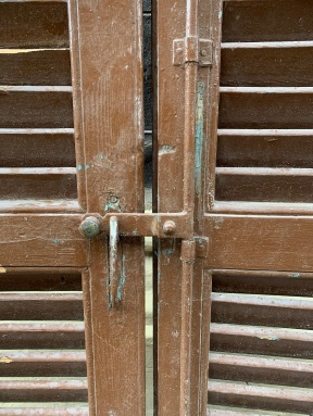 Detail of closing mechanism early timber shutters , Bi-Fold , 4 shutters per set, 1025 mm wide x 2795 mm tall , $ 585 per set , 3 sets available , sets , G, H , and I