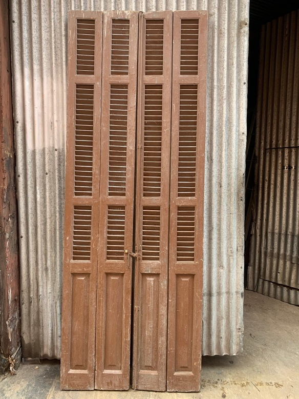 Early timber shutters , Bi-Fold , 4 shutters per set, 1025 mm wide x 2795 mm tall , $ 585 per set , 3 sets available , sets , G, H , and I salvaged, recycled, demolition, reproduction, restoration, renovation,collectable, secondhand, used , original, old, reclaimed, heritage, antique, victorian, art nouveau edwardian, georgian, art deco