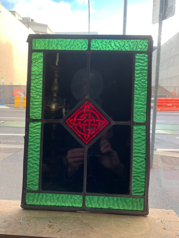 salvagedLeadlight Panels , 395 mm x 282 mm , with Celtic motif to centre , and very unusual dark / black glass, 3 available , $ 145 each, recycled, demolition, reproduction, restoration, renovation,collectable, secondhand, used , original, old, reclaimed, heritage, antique, victorian, art nouveau edwardian, georgian, art deco