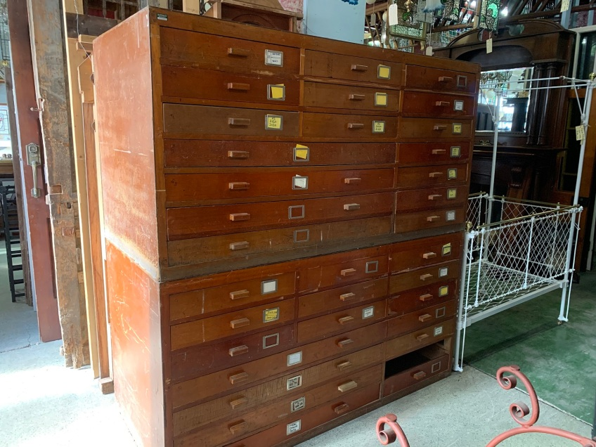2 large banks of drawers , 17 drawers in each bank ( although 1 drawer is missing ) each unit is 1840 mm wide x 950 mm high and 835 mm deep , $ 880 the pair