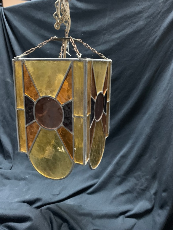 Leadlight Hallway lights, warm yellows and red glass , 3 available, 300 mm x 180 mm square , $120 each