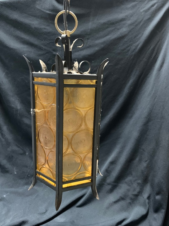 salvaged, recycled, demolition, reproduction, restoration, renovation,collectable, secondhand, used , original, old, reclaimed, heritage, antique, victorian, art nouveau edwardian, georgian, art deco Bungalow lantern style light, amber glass, 330mm x 180mm diameter, $245