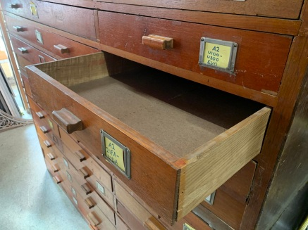 2 large banks of drawers , 17 drawers in each bank ( although 1 drawer is missing ) each unit is 1840 mm wide x 950 mm high and 835 mm deep , $ 880 the pair, top set on hold