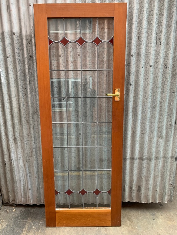 Narrow door with clear glass lead light with red glass diamond details 727mm wide x 1985mm tall , $440 salvaged, recycled, demolition, reproduction, restoration, renovation,collectable, secondhand, used , original, old, reclaimed, heritage, antique, victorian, art nouveau edwardian, georgian, art deco
