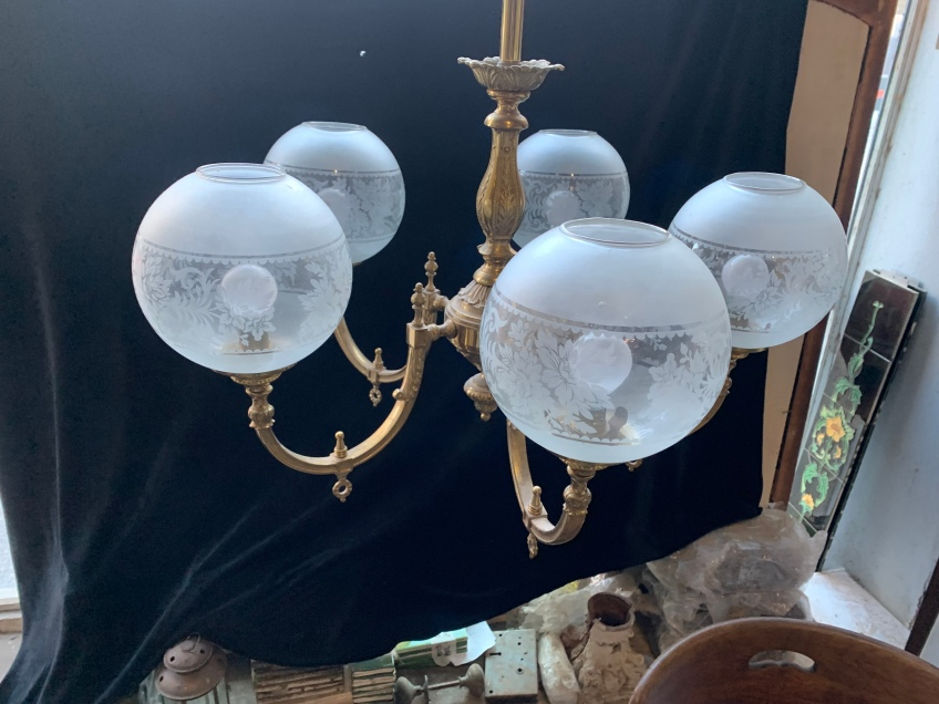 5 Branch pendant light, solid ornate brass with round etched glass shades, 2300mm drop , can be reduced to 1500mm drop , $660 salvaged, recycled, demolition, reproduction, restoration, renovation,collectable, secondhand, used , original, old, reclaimed, heritage, antique, victorian, art nouveau edwardian, georgian, art deco