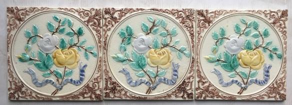 Floral glazed tiles $18 each (Singles)
