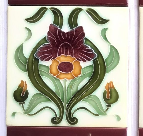 salvaged washstand recycled demolition, reproduction, restoration, renovation,collectable, secondhand, used , original, old, reclaimed, heritage, antique, victorian, edwardian, georgian art nouveau ceramic arts and crafts decorative aesthetic Porteous NZ reproduction picture tiles 6 x 6 stylised daffodil , only one tile left $30