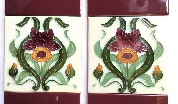 Porteous NZ reproduction picture tiles 6 x 6 inch with claret coloured half tiles, 2 fireplace panels for $138