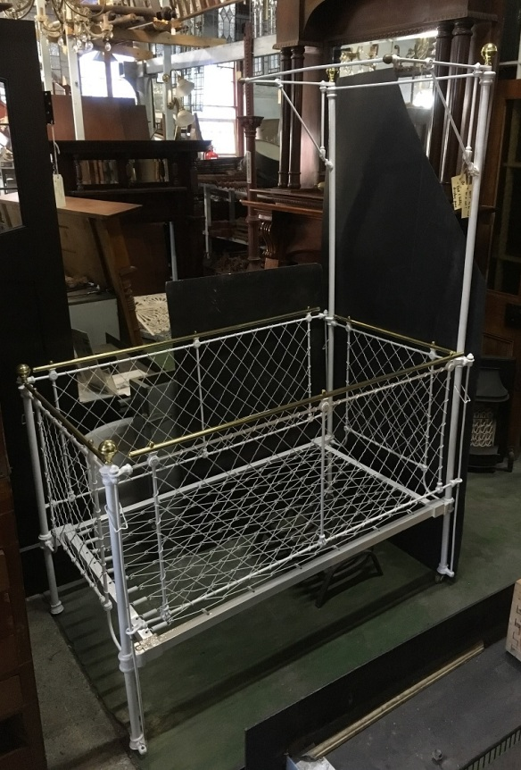 Restored Victorian half tester, display for dolls and teddies, only suitable as a display piece, NOT SUITABLE TO USE AS A COT, W 840 x L 1380 x H 1950mm, $330