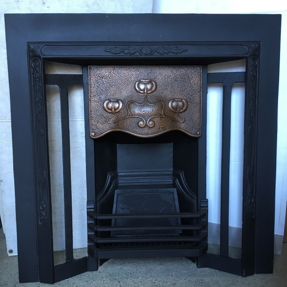 G and K No.50, Art Nouveau with copper finish hood, original restored cast iron fire place insert, w960 x h965mm, $550 open fire grate insert fireplace salvaged, recycled, demolition, reproduction, restoration, renovation,collectable, secondhand, used , original, old, reclaimed, heritage, antique, victorian, art nouveau edwardian, georgian, art deco