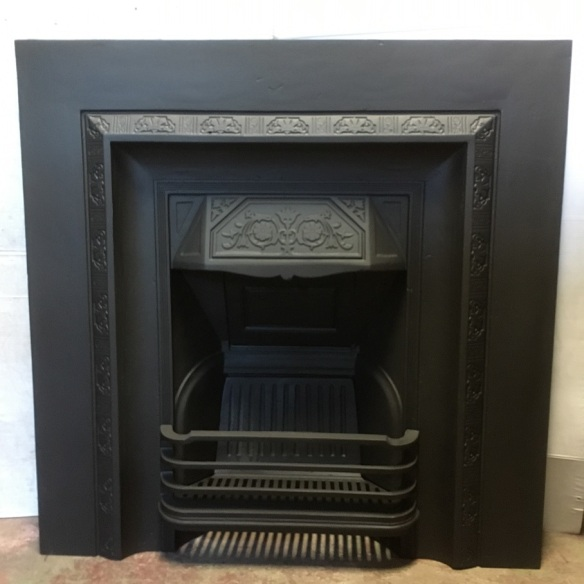 No.50 original restored cast iron fireplace insert, square border design without tile frames, w965 x h965mm, $550 open fire grate insert fireplace salvaged, recycled, demolition, reproduction, restoration, renovation,collectable, secondhand, used , original, old, reclaimed, heritage, antique, victorian, art nouveau edwardian, georgian, art deco