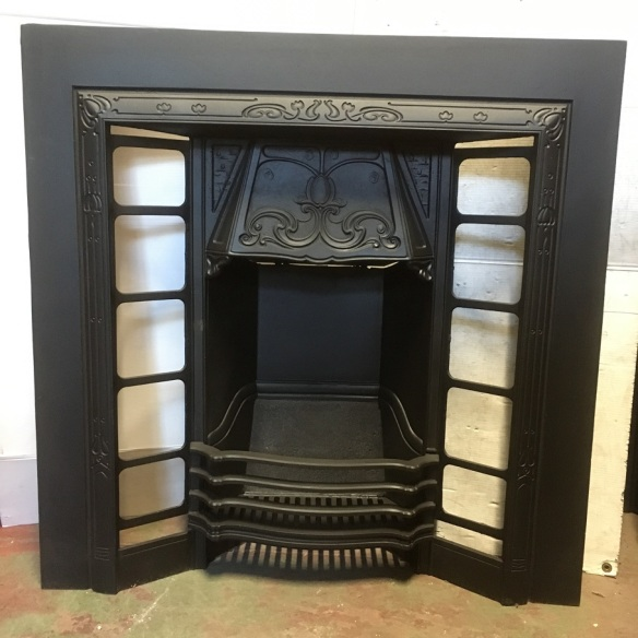 No.604 Aesthetic / Art Nouveau original restored cast iron fire place insert, w965 x h965mm, currently two of this insert available $550 each , $550 open fire grate insert fireplace salvaged, recycled, demolition, reproduction, restoration, renovation,collectable, secondhand, used , original, old, reclaimed, heritage, antique, victorian, art nouveau edwardian, georgian, art deco
