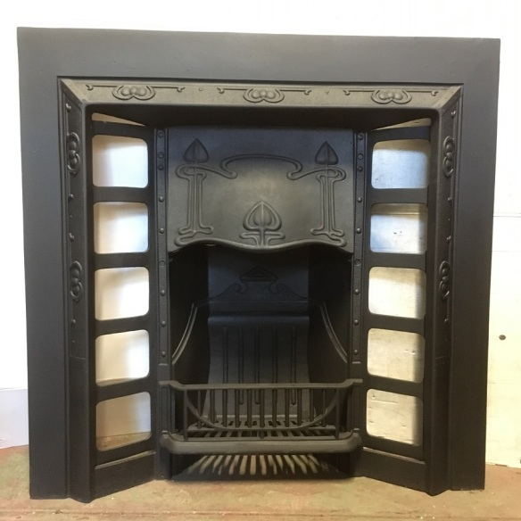 Art Nouveau original restored cast iron fireplace insert, w957 x h950mm, $550 open fire grate insert fireplace salvaged, recycled, demolition, reproduction, restoration, renovation,collectable, secondhand, used , original, old, reclaimed, heritage, antique, victorian, art nouveau edwardian, georgian, art deco